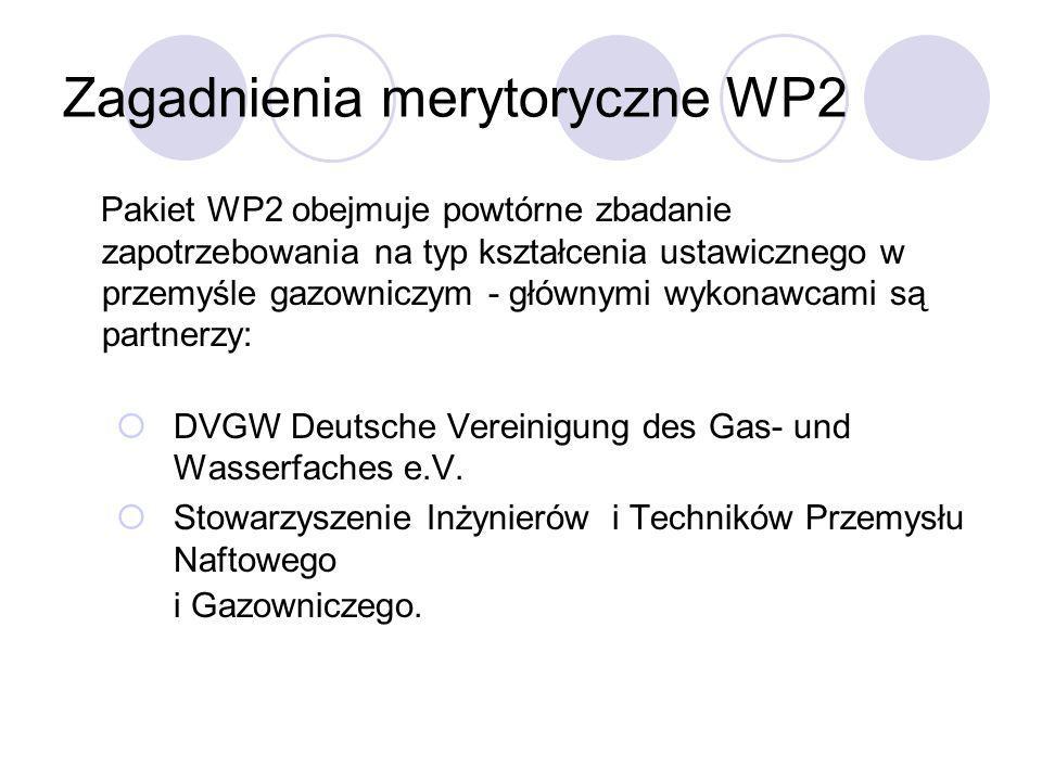 Zagadnienia merytoryczne WP2 Pakiet WP2 obejmuje powtórne zbadanie zapotrzebowania na typ kształcenia ustawicznego w przemyśle gazowniczym - głównymi