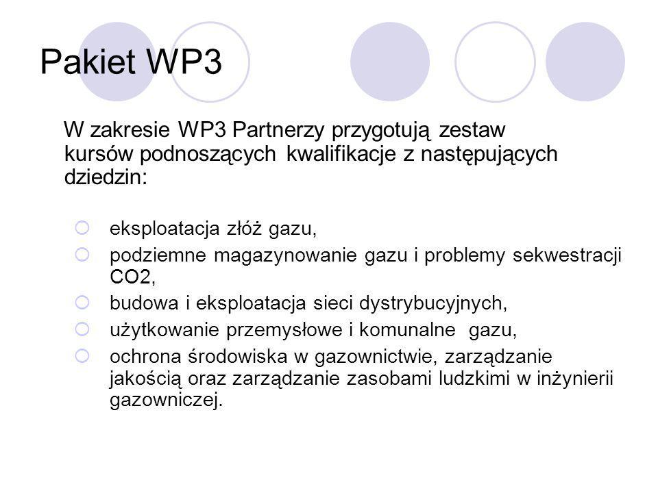 Pakiet WP3 W zakresie WP3 Partnerzy przygotują zestaw kursów podnoszących kwalifikacje z następujących dziedzin: eksploatacja złóż gazu, podziemne mag