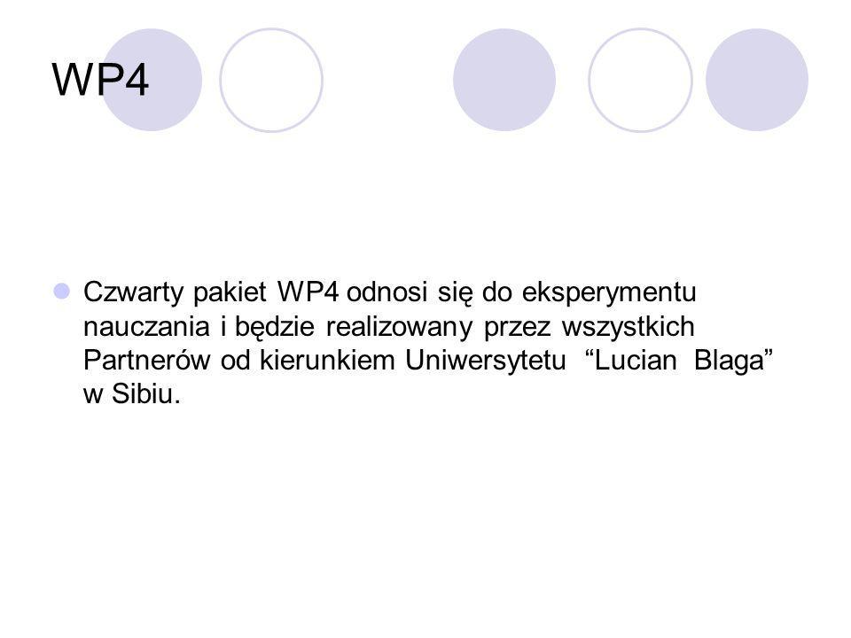 WP4 Czwarty pakiet WP4 odnosi się do eksperymentu nauczania i będzie realizowany przez wszystkich Partnerów od kierunkiem Uniwersytetu Lucian Blaga w