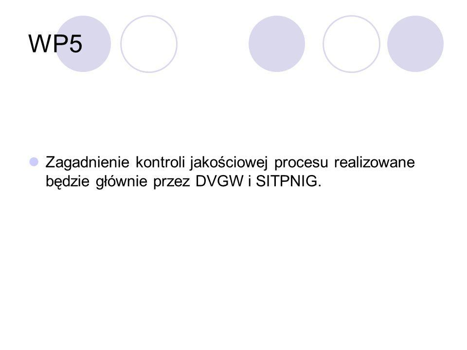 WP5 Zagadnienie kontroli jakościowej procesu realizowane będzie głównie przez DVGW i SITPNIG.