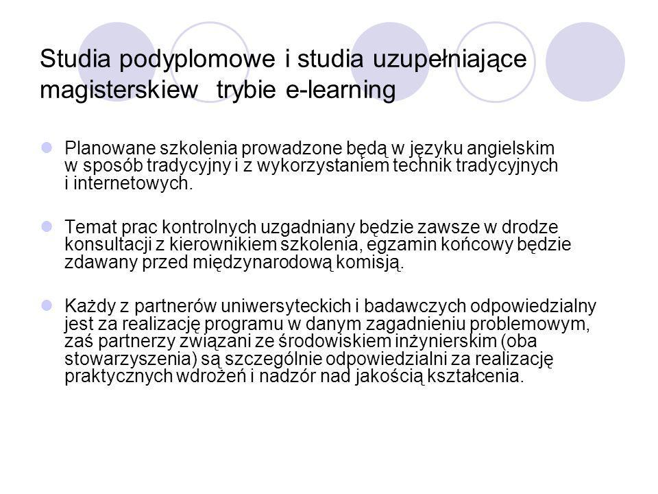 Studia podyplomowe i studia uzupełniające magisterskiew trybie e-learning Planowane szkolenia prowadzone będą w języku angielskim w sposób tradycyjny