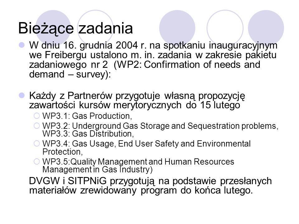 Bieżące zadania W dniu 16. grudnia 2004 r. na spotkaniu inauguracyjnym we Freibergu ustalono m. in. zadania w zakresie pakietu zadaniowego nr 2 (WP2: