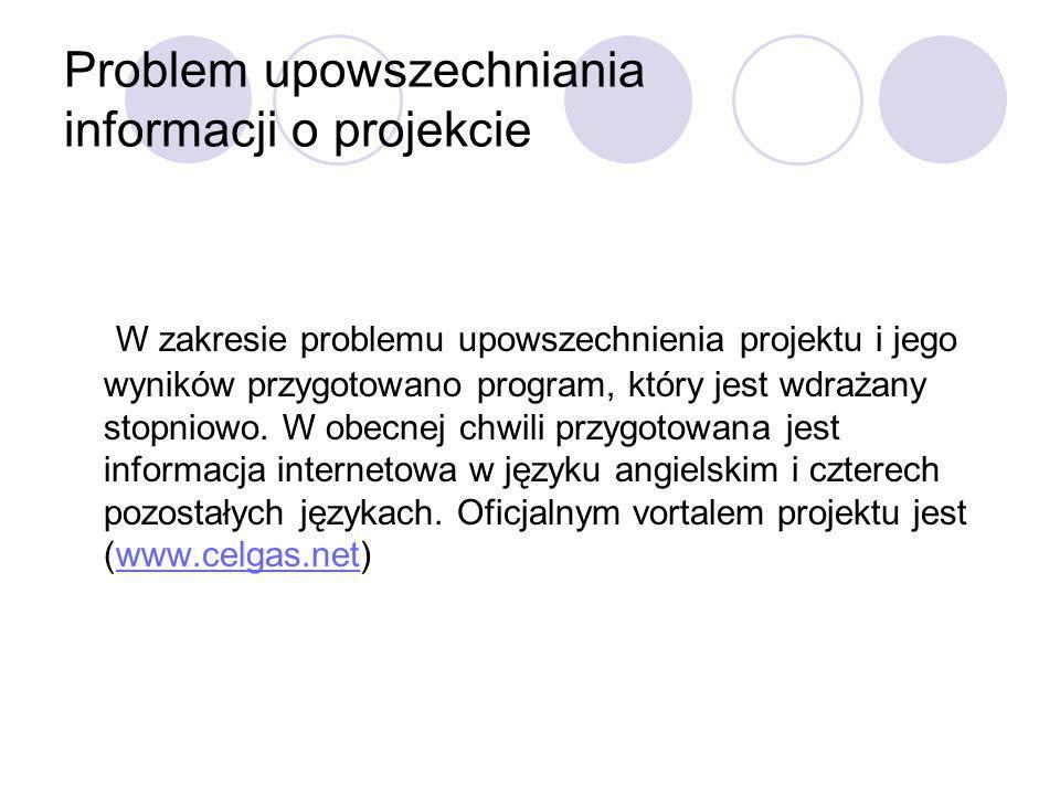Problem upowszechniania informacji o projekcie W zakresie problemu upowszechnienia projektu i jego wyników przygotowano program, który jest wdrażany s
