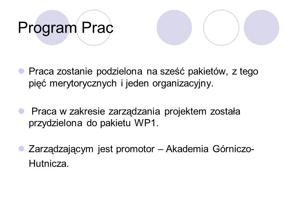 Program Prac Praca zostanie podzielona na sześć pakietów, z tego pięć merytorycznych i jeden organizacyjny. Praca w zakresie zarządzania projektem zos