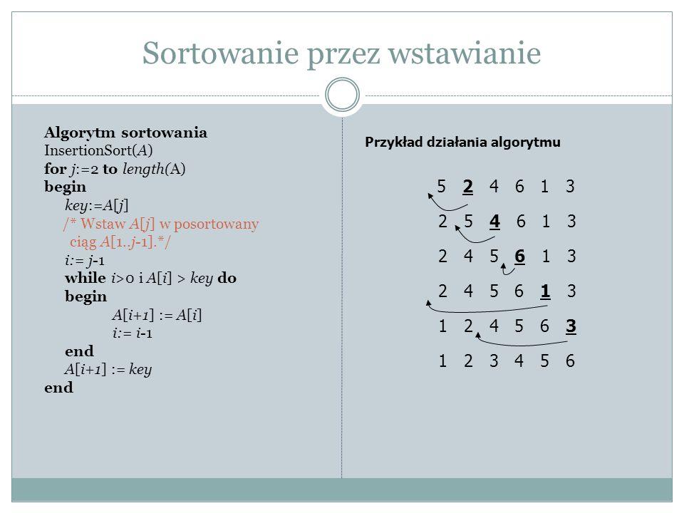 Sortowanie przez wstawianie Algorytm sortowania InsertionSort(A) for j:=2 to length(A) begin key:=A[j] /* Wstaw A[j] w posortowany ciąg A[1..j-1].*/ i:= j-1 while i>0 i A[i] > key do begin A[i+1] := A[i] i:= i-1 end A[i+1] := key end Przykład działania algorytmu 5 2 4 6 1 3 2 5 4 6 1 3 2 4 5 6 1 3 1 2 4 5 6 3 1 2 3 4 5 6