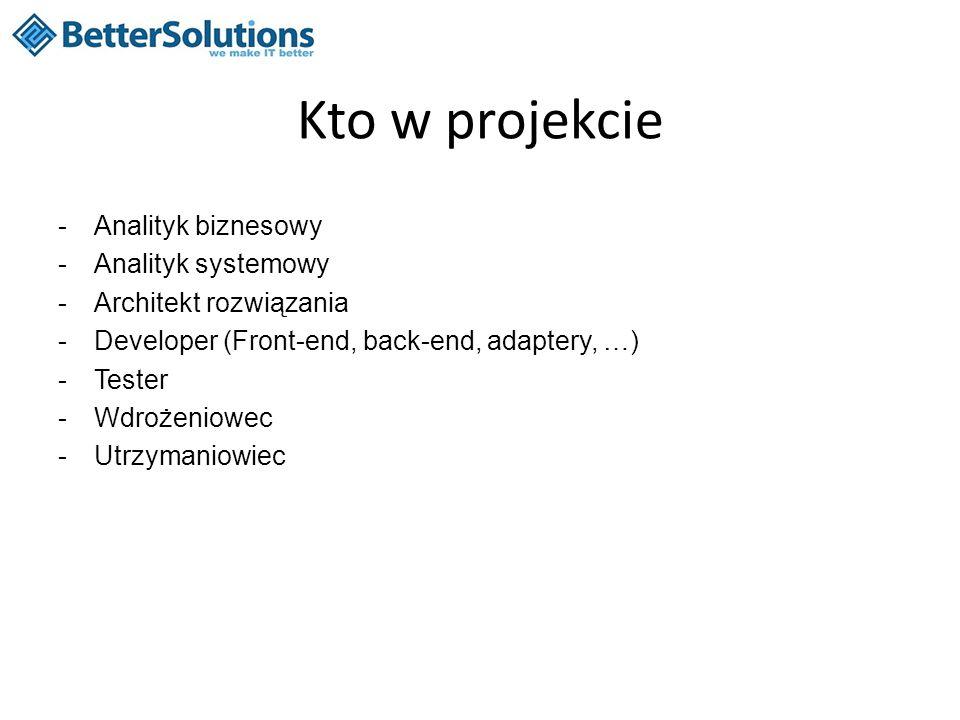 Kto w projekcie -Analityk biznesowy -Analityk systemowy -Architekt rozwiązania -Developer (Front-end, back-end, adaptery, …) -Tester -Wdrożeniowec -Ut