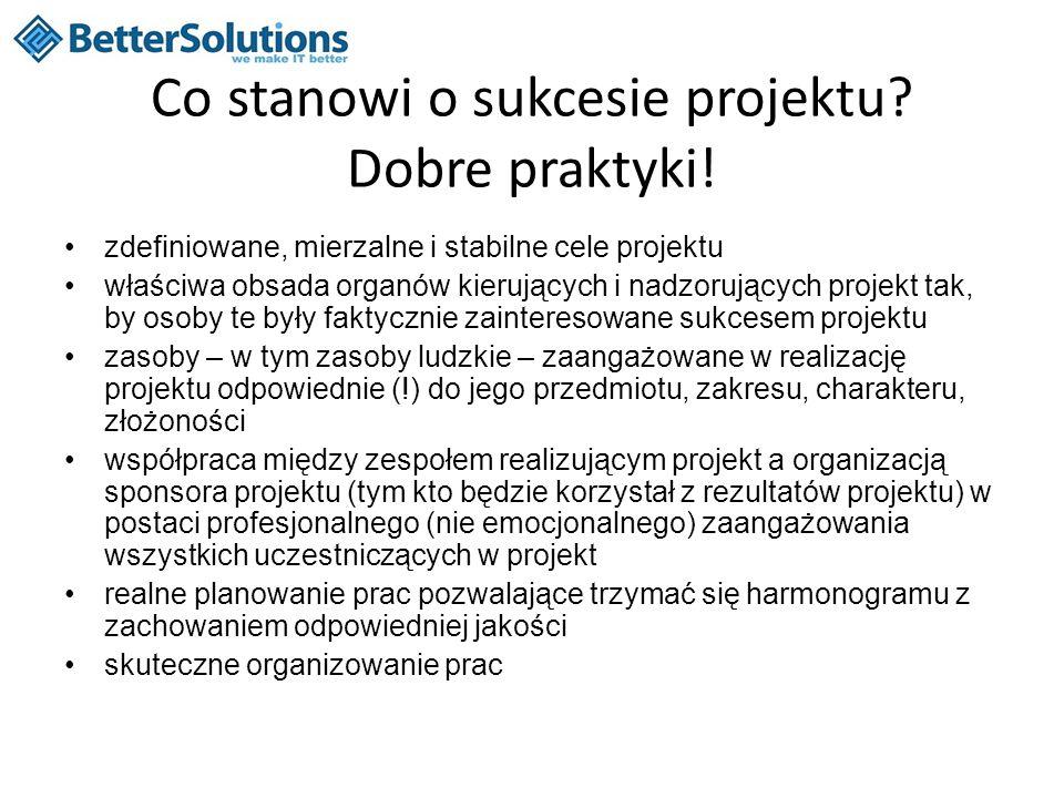 Co stanowi o sukcesie projektu? Dobre praktyki! zdefiniowane, mierzalne i stabilne cele projektu właściwa obsada organów kierujących i nadzorujących p