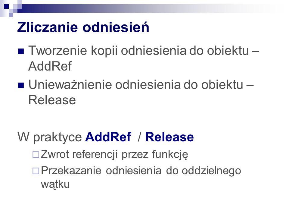 Zliczanie odniesień Tworzenie kopii odniesienia do obiektu – AddRef Unieważnienie odniesienia do obiektu – Release W praktyce AddRef / Release Zwrot r