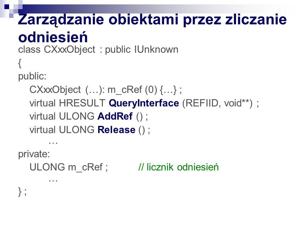 Zarządzanie obiektami przez zliczanie odniesień class CXxxObject : public IUnknown { public: CXxxObject (…): m_cRef (0) {…} ; virtual HRESULT QueryInt