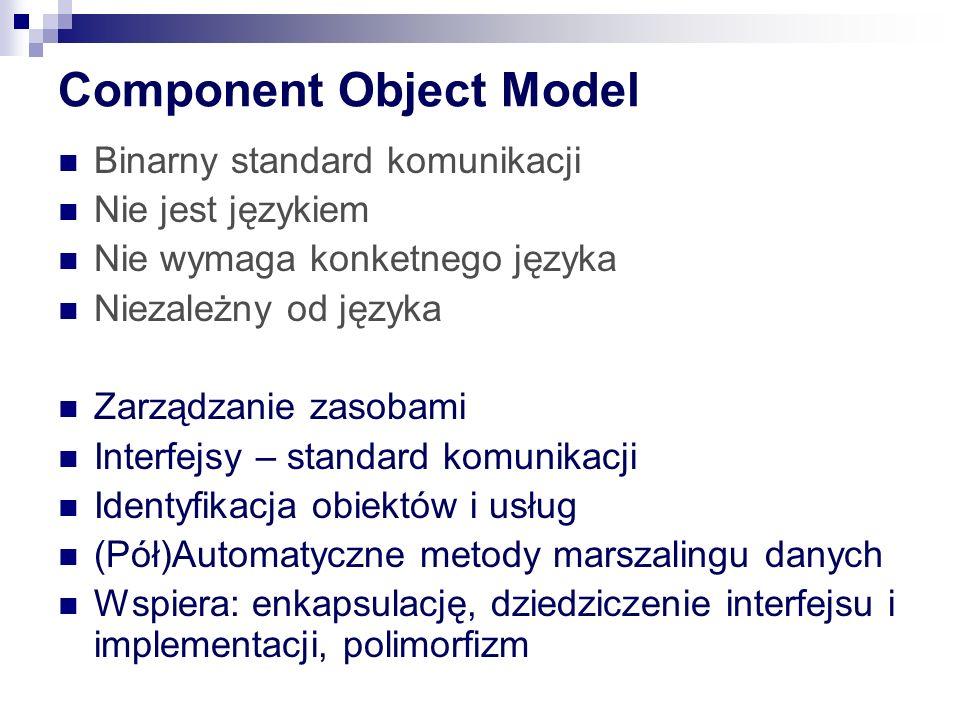 Component Object Model Binarny standard komunikacji Nie jest językiem Nie wymaga konketnego języka Niezależny od języka Zarządzanie zasobami Interfejsy – standard komunikacji Identyfikacja obiektów i usług (Pół)Automatyczne metody marszalingu danych Wspiera: enkapsulację, dziedziczenie interfejsu i implementacji, polimorfizm