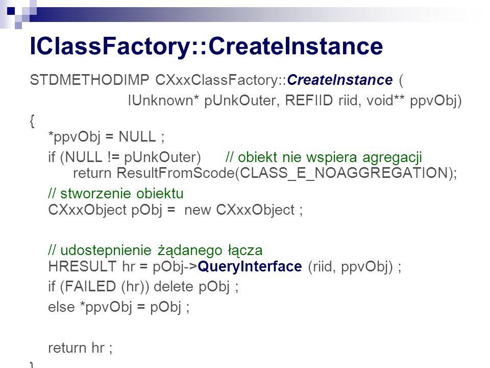 IClassFactory::CreateInstance STDMETHODIMP CXxxClassFactory::CreateInstance ( IUnknown* pUnkOuter, REFIID riid, void** ppvObj) { *ppvObj = NULL ; if (NULL != pUnkOuter)// obiekt nie wspiera agregacji return ResultFromScode(CLASS_E_NOAGGREGATION); // stworzenie obiektu CXxxObject pObj = new CXxxObject ; // udostepnienie żądanego łącza HRESULT hr = pObj->QueryInterface (riid, ppvObj) ; if (FAILED (hr)) delete pObj ; else *ppvObj = pObj ; return hr ; }