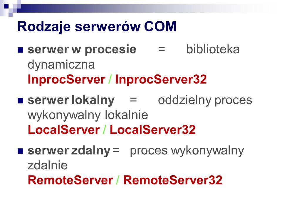 Rodzaje serwerów COM serwer w procesie=biblioteka dynamiczna InprocServer / InprocServer32 serwer lokalny=oddzielny proces wykonywalny lokalnie LocalServer / LocalServer32 serwer zdalny=proces wykonywalny zdalnie RemoteServer / RemoteServer32