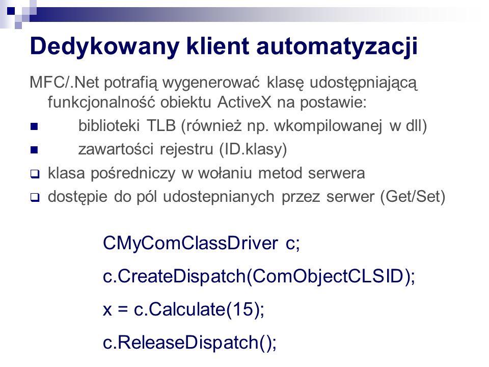 Dedykowany klient automatyzacji MFC/.Net potrafią wygenerować klasę udostępniającą funkcjonalność obiektu ActiveX na postawie: biblioteki TLB (również