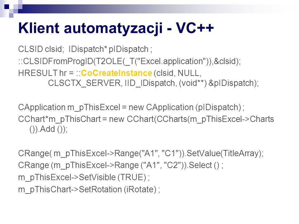 Klient automatyzacji - VC++ CLSID clsid; IDispatch* pIDispatch ; ::CLSIDFromProgID(T2OLE(_T( Excel.application )),&clsid); HRESULT hr = ::CoCreateInstance (clsid, NULL, CLSCTX_SERVER, IID_IDispatch, (void**) &pIDispatch); CApplication m_pThisExcel = new CApplication (pIDispatch) ; CChart*m_pThisChart = new CChart(CCharts(m_pThisExcel->Charts ()).Add ()); CRange( m_pThisExcel->Range( A1 , C1 )).SetValue(TitleArray); CRange (m_pThisExcel->Range ( A1 , C2 )).Select () ; m_pThisExcel->SetVisible (TRUE) ; m_pThisChart->SetRotation (iRotate) ;
