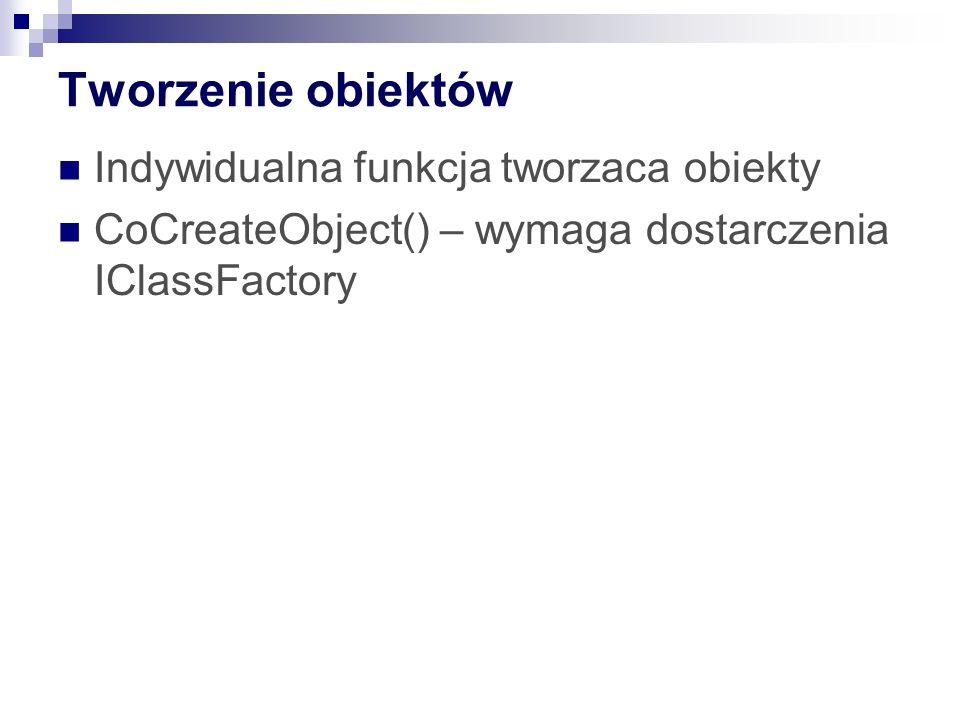 Tworzenie obiektów Indywidualna funkcja tworzaca obiekty CoCreateObject() – wymaga dostarczenia IClassFactory