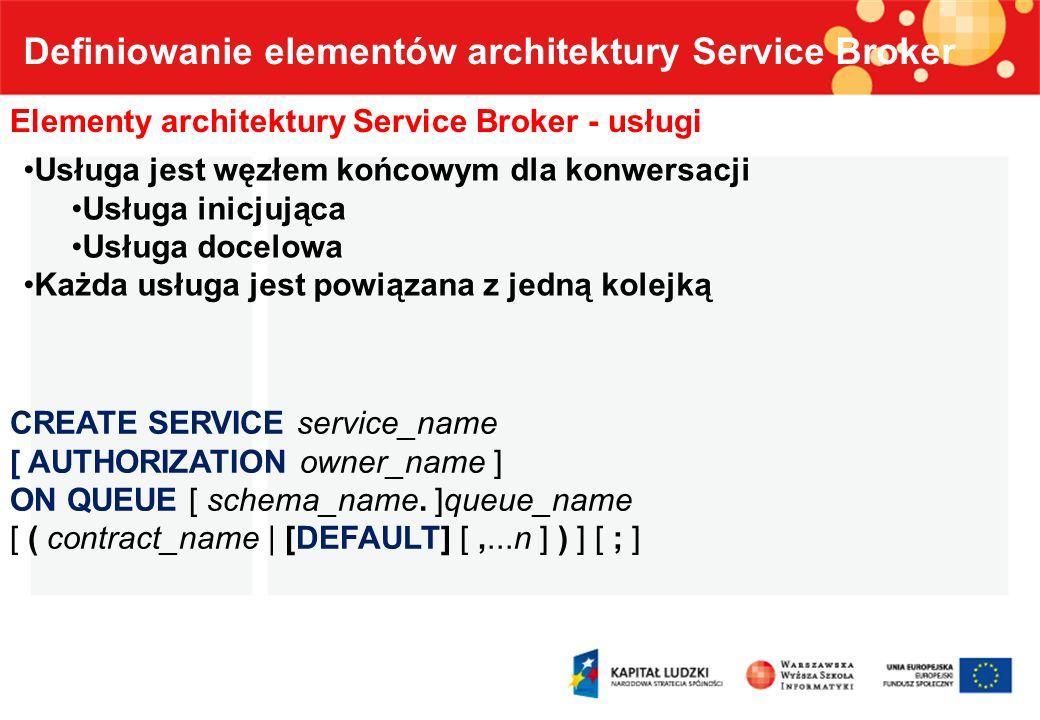Definiowanie elementów architektury Service Broker Elementy architektury Service Broker - usługi Usługa jest węzłem końcowym dla konwersacji Usługa in