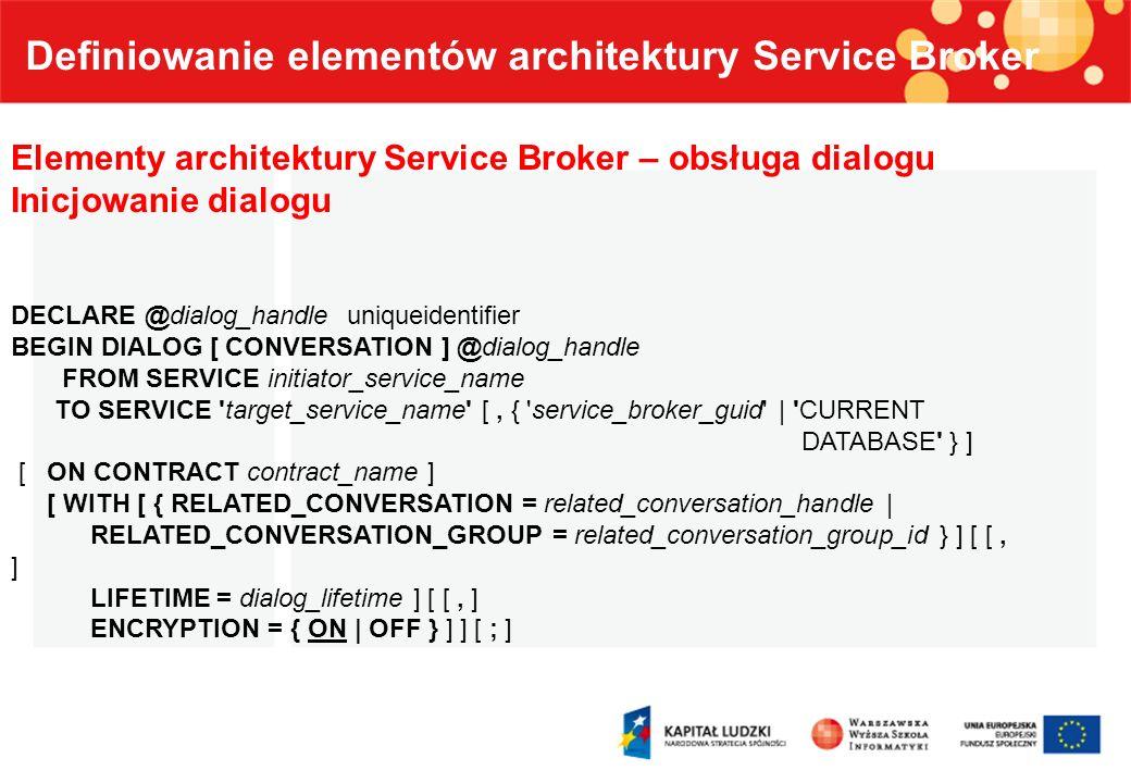 Definiowanie elementów architektury Service Broker Elementy architektury Service Broker – obsługa dialogu Inicjowanie dialogu DECLARE @dialog_handle u
