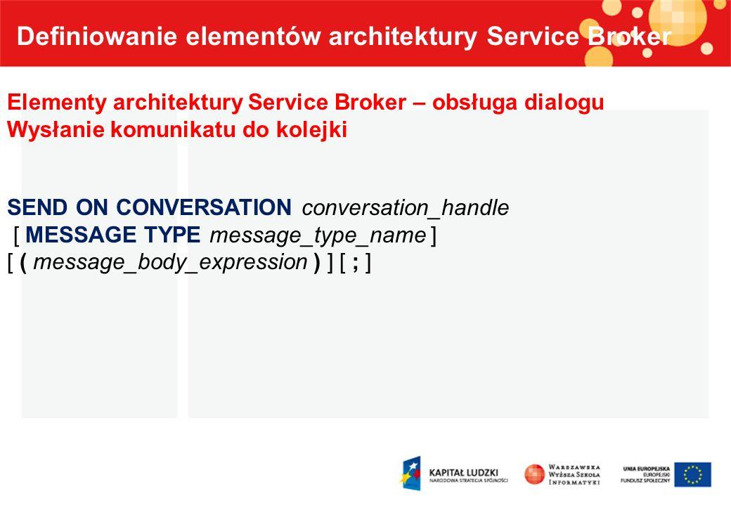 Definiowanie elementów architektury Service Broker Elementy architektury Service Broker – obsługa dialogu Wysłanie komunikatu do kolejki SEND ON CONVE