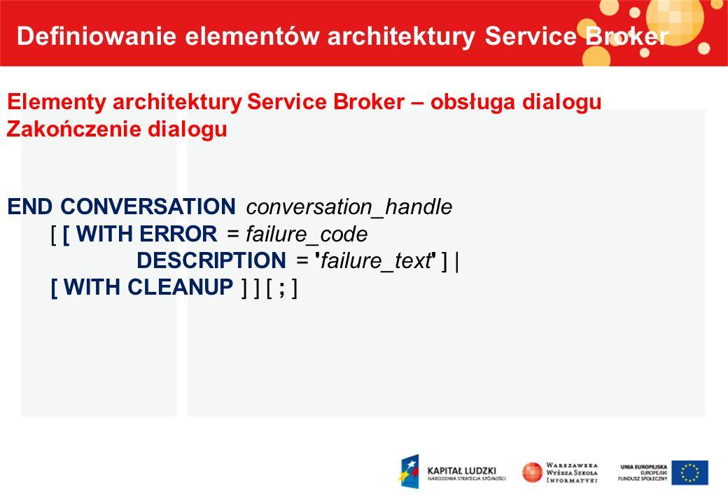 Definiowanie elementów architektury Service Broker Elementy architektury Service Broker – obsługa dialogu Zakończenie dialogu END CONVERSATION convers