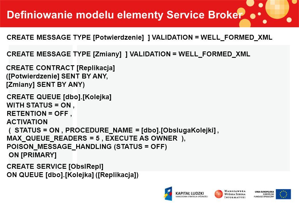 Definiowanie modelu elementy Service Broker CREATE MESSAGE TYPE [Potwierdzenie] ] VALIDATION = WELL_FORMED_XML CREATE MESSAGE TYPE [Zmiany] ] VALIDATI