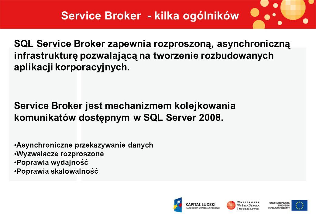 Komunikaty Usługi Kolejki Konwersacje Kontrakty Węzły końcowe Service Broker Zdalne wiązanie usług Trasy Service Broker - elementy architektury Elementy architektury Service Broker