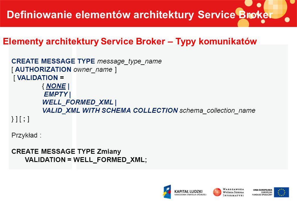 Definiowanie elementów architektury Service Broker Elementy architektury Service Broker – Kontrakty CREATE CONTRACT contract_name [ AUTHORIZATION owner_name ] ( { { message_type_name | [ DEFAULT ] } SENT BY { INITIATOR | TARGET | ANY } } [,...n] ) [ ; ] Kontrakt definiuje typy komunikatów, które może wysyłać uczestnik konwersacji Kontrakt musi zawierać co najmniej jeden typ komunikatu.