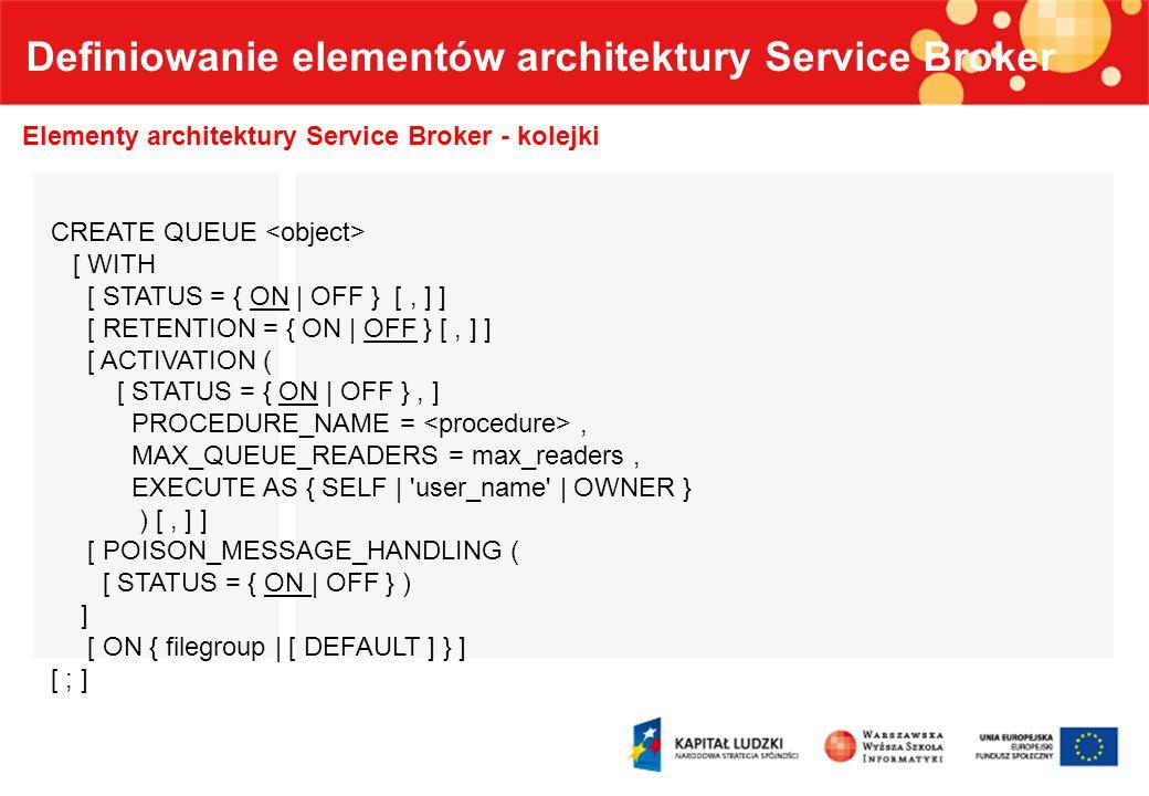 Definiowanie elementów architektury Service Broker Elementy architektury Service Broker – zawartość kolejki Column nameData typeDescription statustinyint 0=Received message 1=Ready 2=Not yet complete 3=Retained sent message prioritytinyintReserved for future use.