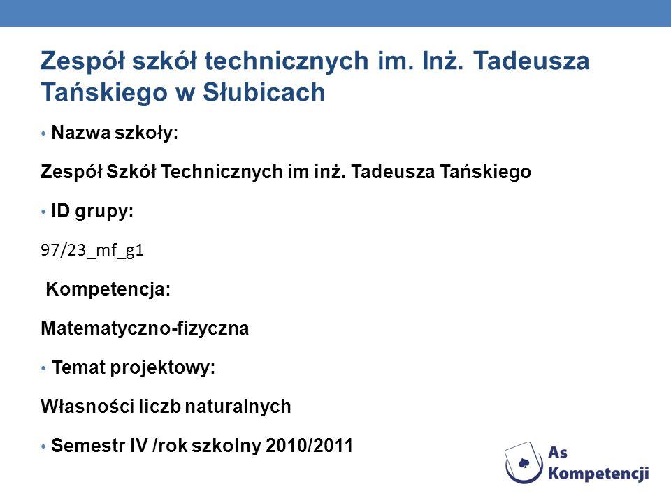 Zespół szkół technicznych im. Inż. Tadeusza Tańskiego w Słubicach Nazwa szkoły: Zespół Szkół Technicznych im inż. Tadeusza Tańskiego ID grupy: 97/23_m