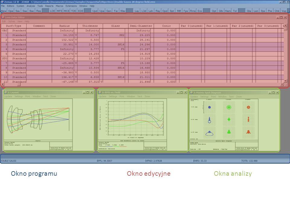 Okno programuOkno edycyjneOkna analizy