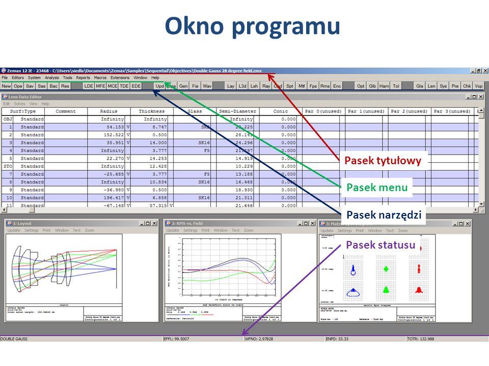 Pasek tytułowy Pasek menu Pasek narzędzi Pasek statusu Okno programu