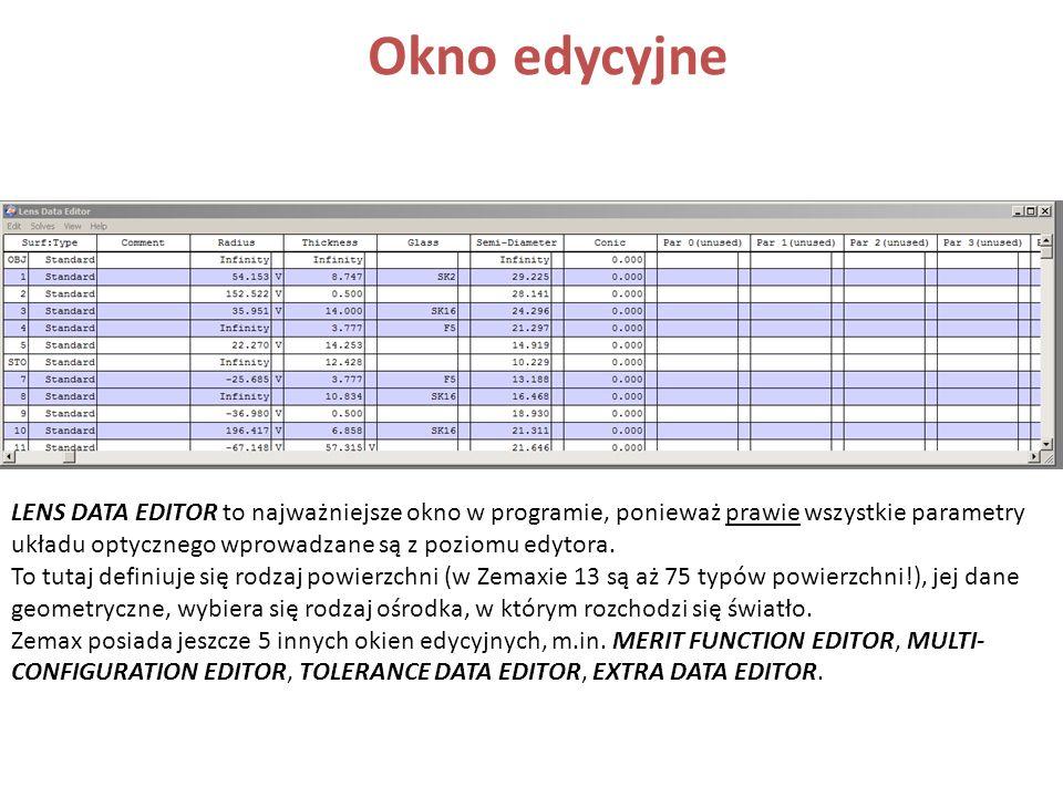 Okno edycyjne LENS DATA EDITOR to najważniejsze okno w programie, ponieważ prawie wszystkie parametry układu optycznego wprowadzane są z poziomu edyto