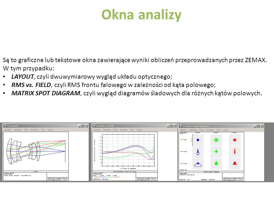 Okna analizy Są to graficzne lub tekstowe okna zawierające wyniki obliczeń przeprowadzanych przez ZEMAX. W tym przypadku: LAYOUT, czyli dwuwymiarowy w
