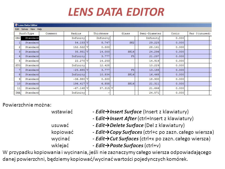 LENS DATA EDITOR Powierzchnie można: wstawiać- EditInsert Surface (Insert z klawiatury) - EditInsert After (ctrl+Insert z klawiatury) usuwać- EditDele