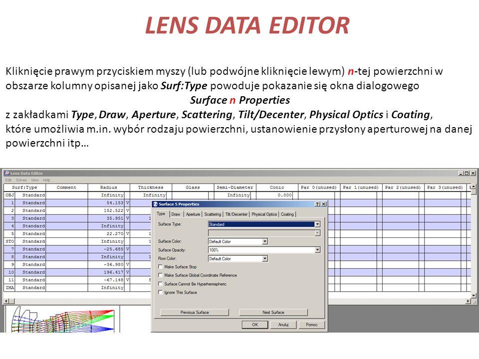 LENS DATA EDITOR Kliknięcie prawym przyciskiem myszy (lub podwójne kliknięcie lewym) n-tej powierzchni w obszarze kolumny opisanej jako Surf:Type powo
