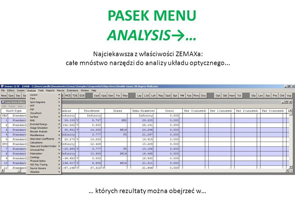 PASEK MENU ANALYSIS… Najciekawsza z właściwości ZEMAXa: całe mnóstwo narzędzi do analizy układu optycznego... … których rezultaty można obejrzeć w…