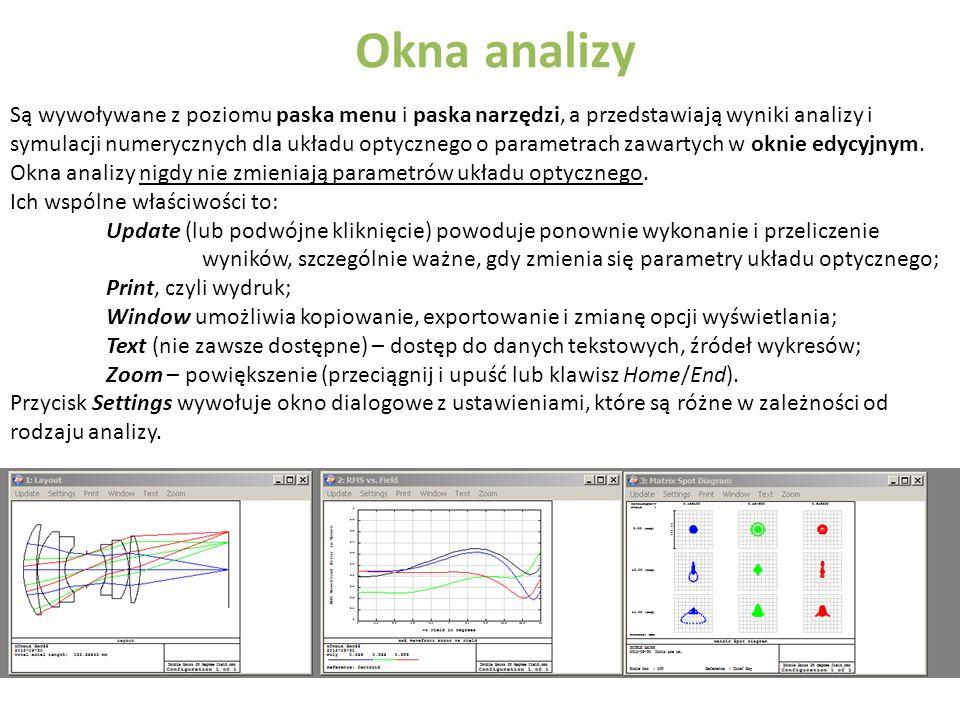 Okna analizy Są wywoływane z poziomu paska menu i paska narzędzi, a przedstawiają wyniki analizy i symulacji numerycznych dla układu optycznego o para