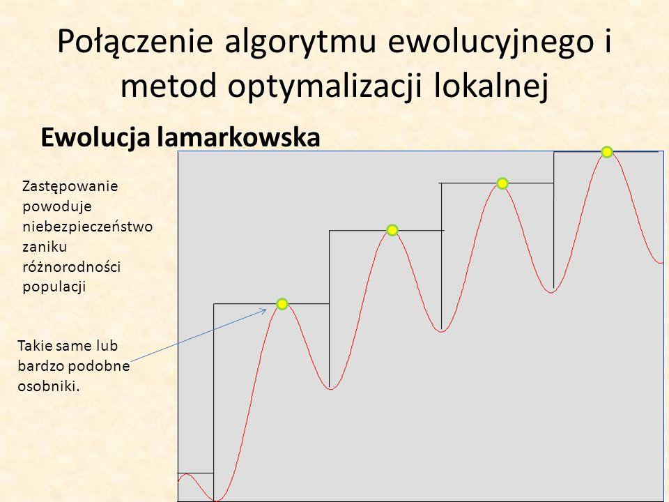 Połączenie algorytmu ewolucyjnego i metod optymalizacji lokalnej Ewolucja lamarkowska Zastępowanie powoduje niebezpieczeństwo zaniku różnorodności pop