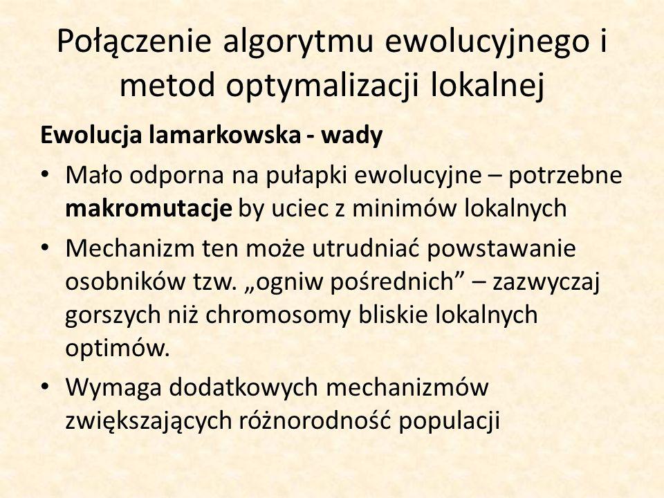 Połączenie algorytmu ewolucyjnego i metod optymalizacji lokalnej Ewolucja lamarkowska - wady Mało odporna na pułapki ewolucyjne – potrzebne makromutac