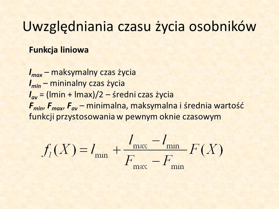 Uwzględniania czasu życia osobników Funkcja liniowa l max – maksymalny czas życia l min – mininalny czas życia l av = (lmin + lmax)/2 – średni czas ży