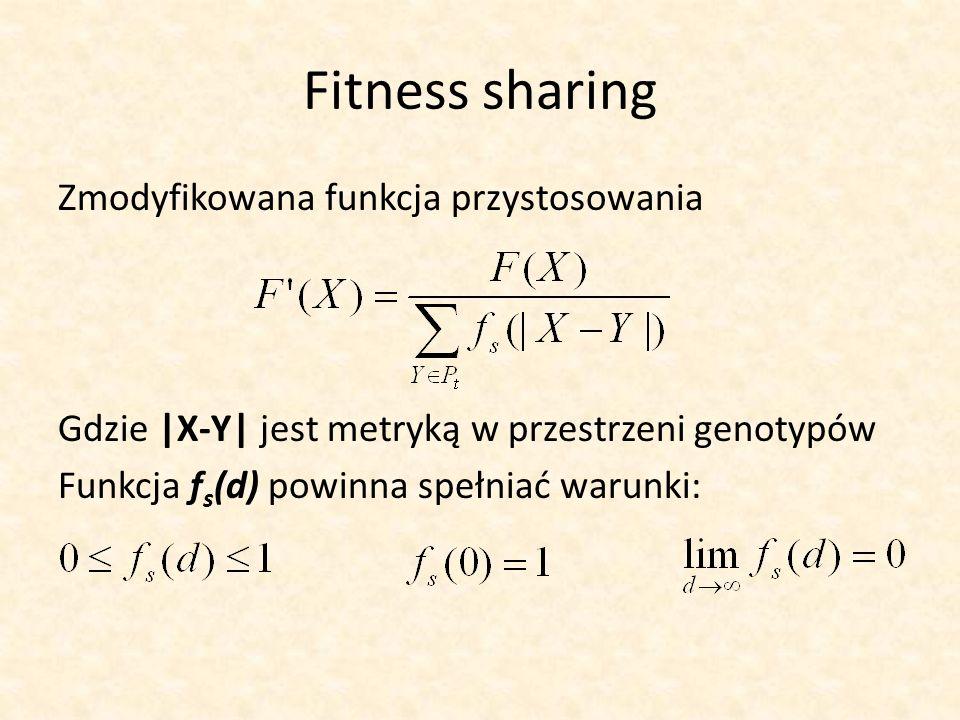 Fitness sharing Zmodyfikowana funkcja przystosowania Gdzie |X-Y| jest metryką w przestrzeni genotypów Funkcja f s (d) powinna spełniać warunki: