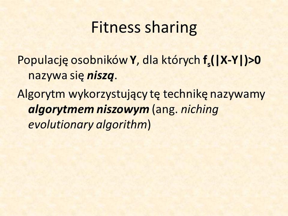Fitness sharing Populację osobników Y, dla których f s (|X-Y|)>0 nazywa się niszą. Algorytm wykorzystujący tę technikę nazywamy algorytmem niszowym (a