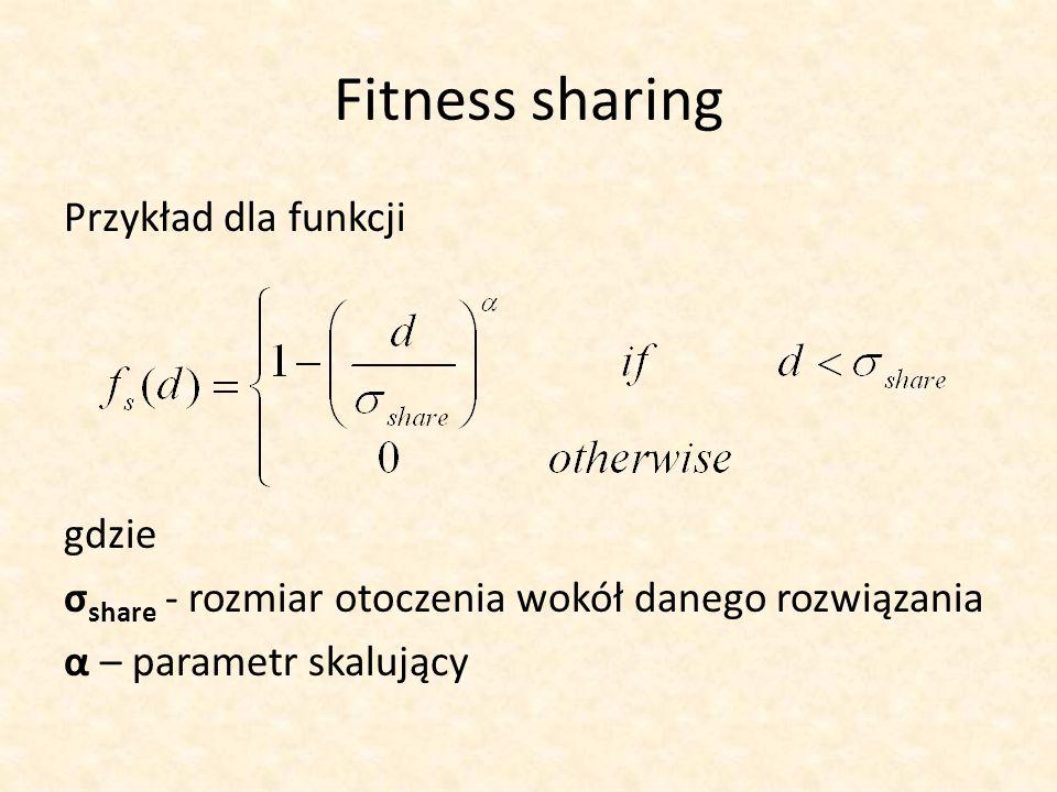 Fitness sharing Przykład dla funkcji gdzie σ share - rozmiar otoczenia wokół danego rozwiązania α – parametr skalujący