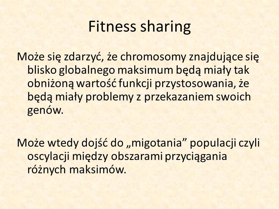 Fitness sharing Może się zdarzyć, że chromosomy znajdujące się blisko globalnego maksimum będą miały tak obniżoną wartość funkcji przystosowania, że b