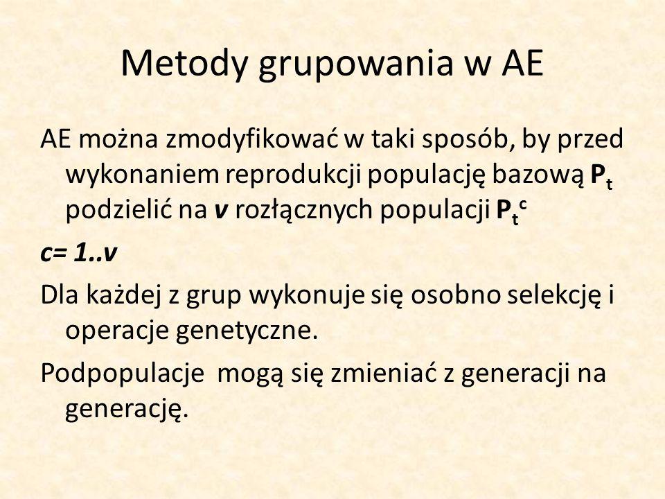 Metody grupowania w AE AE można zmodyfikować w taki sposób, by przed wykonaniem reprodukcji populację bazową P t podzielić na v rozłącznych populacji