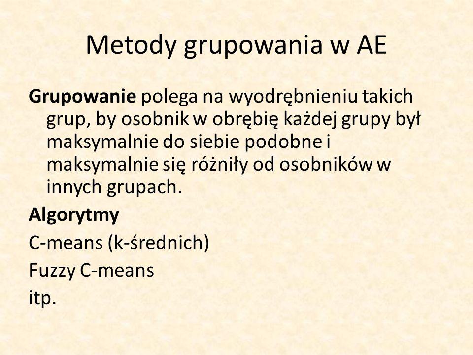Metody grupowania w AE Grupowanie polega na wyodrębnieniu takich grup, by osobnik w obrębię każdej grupy był maksymalnie do siebie podobne i maksymaln