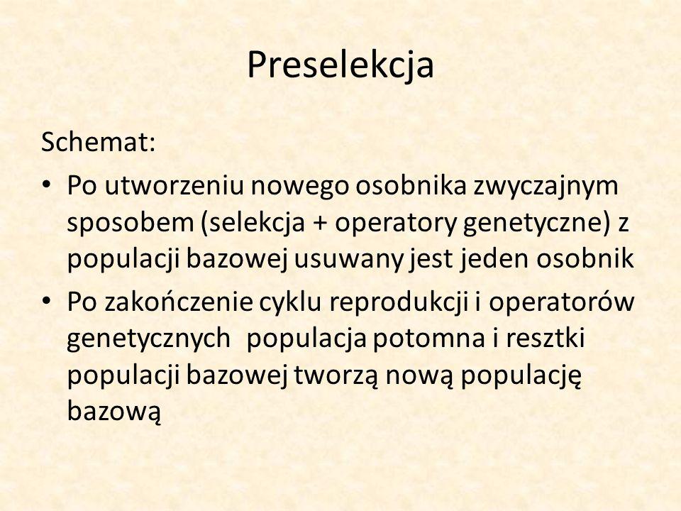 Preselekcja Schemat: Po utworzeniu nowego osobnika zwyczajnym sposobem (selekcja + operatory genetyczne) z populacji bazowej usuwany jest jeden osobni