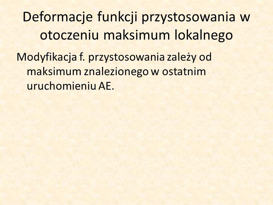 Deformacje funkcji przystosowania w otoczeniu maksimum lokalnego Modyfikacja f. przystosowania zależy od maksimum znalezionego w ostatnim uruchomieniu