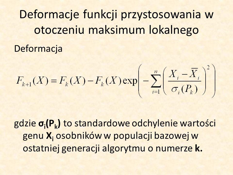 Deformacje funkcji przystosowania w otoczeniu maksimum lokalnego Deformacja gdzie σ i (P k ) to standardowe odchylenie wartości genu X i osobników w p