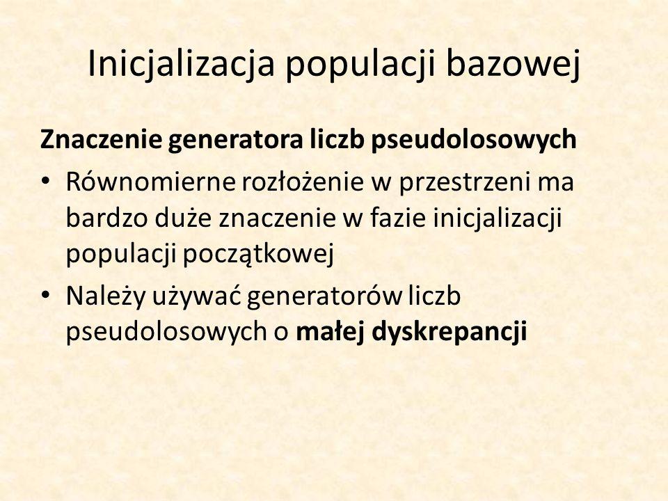 Inicjalizacja populacji bazowej Znaczenie generatora liczb pseudolosowych Równomierne rozłożenie w przestrzeni ma bardzo duże znaczenie w fazie inicja