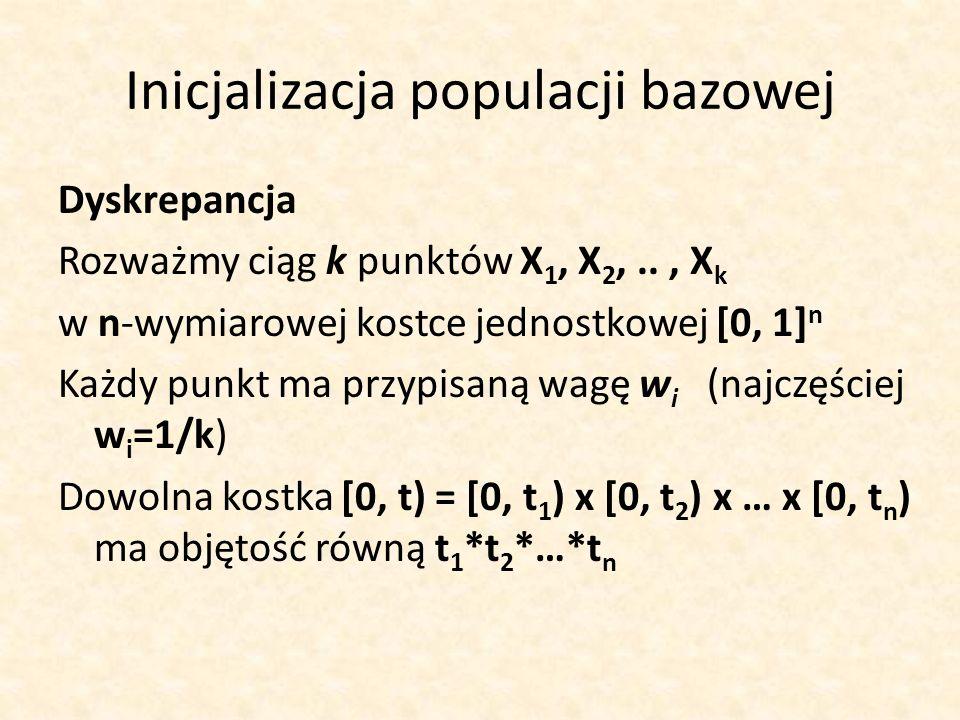 Inicjalizacja populacji bazowej Dyskrepancja Rozważmy ciąg k punktów X 1, X 2,.., X k w n-wymiarowej kostce jednostkowej [0, 1] n Każdy punkt ma przyp